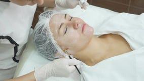 Закройте вверх руки cosmetologist прикладывая cream маску на женской стороне Она держит щетку Красивая молодая женщина акции видеоматериалы