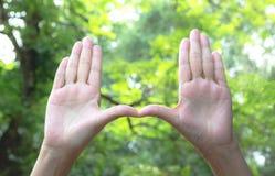 Закройте вверх рук делая рамку для того чтобы показывать Закройте вверх рук женщины Стоковые Фотографии RF