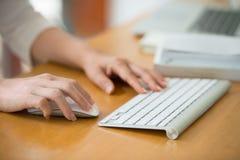 Закройте вверх рук женщины используя мышь и клавиатуру стоковое фото