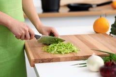 Закройте вверх рук ` s женщины варя в кухне Домохозяйка отрезая свежий салат Стоковая Фотография