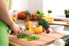 Закройте вверх рук ` s женщины варя в кухне Домохозяйка отрезая свежий салат Стоковое фото RF