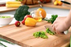 Закройте вверх рук ` s женщины варя в кухне Домохозяйка отрезая свежий салат Вегетарианец и здорово варить Стоковые Изображения