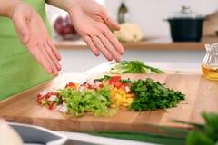 Закройте вверх рук ` s женщины варя в кухне Домохозяйка предлагая свежий салат Вегетарианец и здорово варить Стоковая Фотография