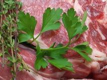 Закройте вверх свежей петрушки на сырцовом carvery говядины стоковая фотография