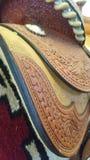 Закройте вверх седловины кожи quarterhorse стоковое изображение rf