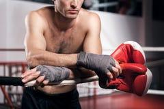 Закройте вверх склонности боксера на веревочке кольца Стоковое Изображение RF