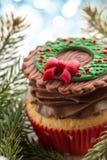 Закройте вверх сметанообразного пирожного рождества Стоковое Изображение RF