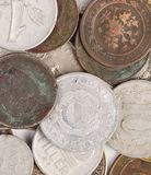 Закройте вверх старых монеток. Стоковые Фото