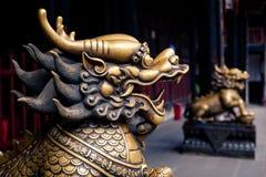 Закройте вверх статуи головы бронзы льва Стоковая Фотография