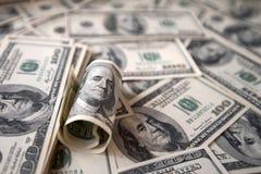 Закройте вверх стога долларов как предпосылка Стоковая Фотография RF