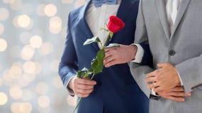 Закройте вверх счастливых мужских пар гомосексуалиста держа руки Стоковое Фото