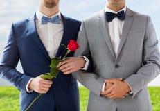 Закройте вверх счастливых мужских пар гомосексуалиста держа руки Стоковые Изображения RF