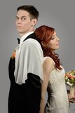 Закройте вверх славной молодой пары свадьбы Стоковые Фотографии RF