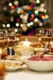 Закройте вверх таблицы пиршества рождественского ужина Стоковые Изображения RF