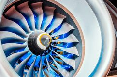 Закройте вверх турбореактивности двигателя турбины воздушных судн гражданского стоковое фото rf