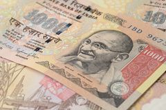 Закройте вверх тысячи рупий Стоковое Изображение RF