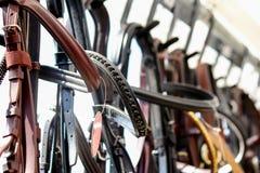 Закройте вверх уздечек лошади на стеллаже для выставки товаров стоковые фото