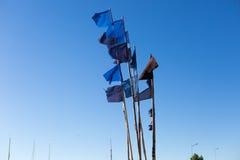 Закройте вверх флагов на шлюпке рыболова Стоковая Фотография