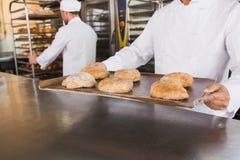 Закройте вверх хлебопека держа поднос хлеба Стоковые Фото