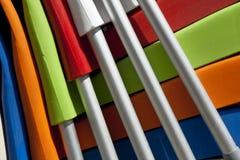 Закройте вверх цветастых стулов Стоковые Изображения RF