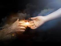 Закройте вверх человеческих рук достигая каждое Стоковое Изображение