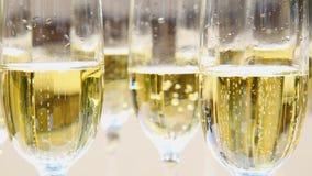 Закройте вверх шампанского в стеклах сток-видео
