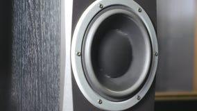 Закройте вверх moving подводн-woofer на студии звукозаписи Черный диктор пульсируя и вибрируя от слушает громкой музыки дальше сток-видео