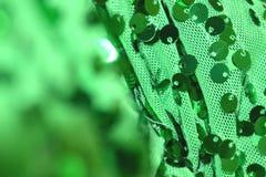 Закройте вверх sequin на зеленой ткани, запачканный и сфокусированный Стоковые Фото