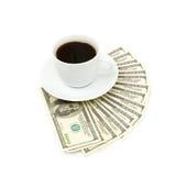 закройте доллар кофейной чашки вверх Стоковое Изображение RF