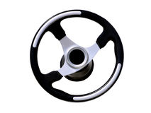 закройте изолированное управление рулем вверх по колесу Стоковое Изображение RF
