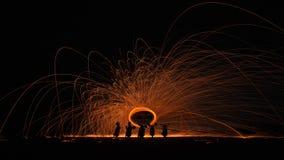 Закрутка огня сделала тень мотоцикла Стоковое фото RF