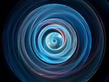 Закрутка сини накаляя волнистая в космосе, гравитационных волнах Стоковая Фотография