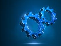 Закручивая шестерни Индустрия, работа двигателя, машина технологии решения дела проектируя полигональное вектора символа низкое п иллюстрация вектора