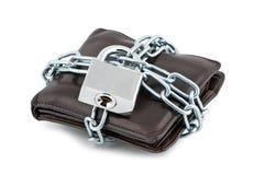 закрынный цепями бумажник padlock Стоковое Фото