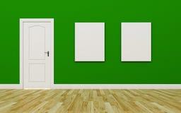 Закрытая белая дверь на зеленой стене, 2 пустом плакате, деревянный пол Стоковое фото RF
