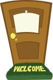 Закрытая дверь с пустым знаком иллюстрация штока