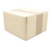 Закрытая картонная коробка связала тесьмой вверх и изолировала Стоковая Фотография