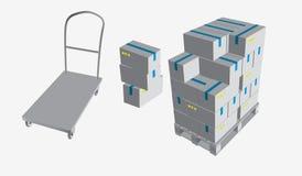 Закрытая коробка, поставка коробок с хрупкими знаками на деревянных паллете и вагонетке хранения, изолированная на белом illustr  бесплатная иллюстрация