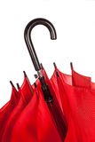 Закрытая красная ручка зонтика над белизной Стоковое фото RF