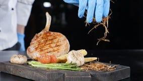 Закрытая фотография шеф-повара, украшающего жаркое мясо травами Кадр из фильма 'Foodvideo' Застрел в hd сток-видео