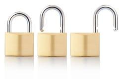 закрыто раскройте padlock стоковое фото rf