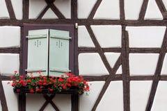закрытые зеленые штарки огораживают белую древесину окна Стоковое Изображение RF