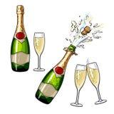 Закрытые, открытые бутылка шампанского и стекла Стоковое Изображение RF