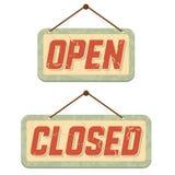 закрытые открытые ретро знаки иллюстрация штока
