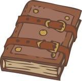Закрытые тетрадь или книга с крышкой и фермуарами кожи Брайна иллюстрация штока