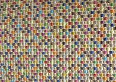 Закрытый вверх квадратной текстуры красочной картины Weave корзины Стоковая Фотография RF