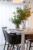 Закрытый вверх по славному обедая стулу с inte комплектов деревянного стола и блюда Стоковые Фотографии RF