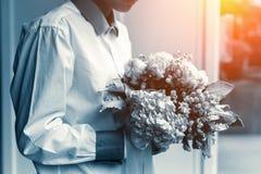 Закрытый вверх по цветку владением руки ` s женщины крошечному красивому белому в белизне Стоковые Фото