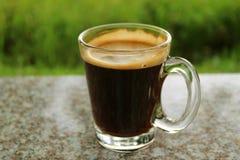 Закрытый вверх по чашке горячего кофе на открытой террасе с расплывчатым живым зеленым Бушем в предпосылке стоковая фотография rf