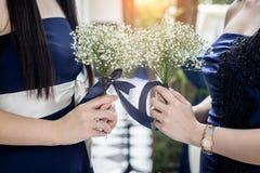 Закрытый вверх по woman& x27; цветок владением руки s крошечный красивый белый Стоковое Изображение RF